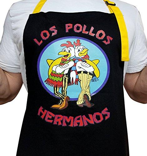 Los Pollos Hermanos 100% Cotton Thick Black Apron with 2 Yellow Tone Pockets - Adjustable Strap...