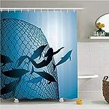 ZLWSSA Cortina de Ducha a Prueba de Agua 3D Conjunto de decoración de Sirena Sirena rescata el Vuelo de los Delfines de la Red de Pesca Dom 180x240cm