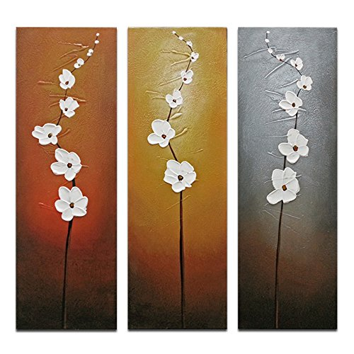 Wieco Art 3 Piece White Flowers Oil Paintings On Canvas Wall For Living Room Bedroom