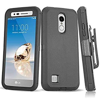 Annymall Case for LG Aristo 2/Tribute Empire/Tribute Dynasty/Rebel 4 LTE 4 in 1 Heavy Duty Shockproof with [Kickstand] [Built-in Screen Protector] Protective Armor Phone Cover  Black