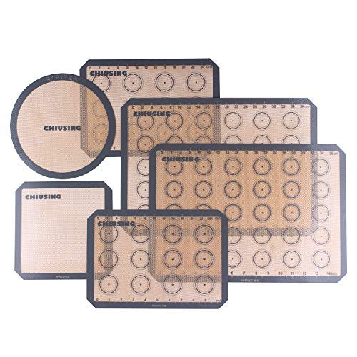 6 piece silicone macaron baking mats with measurements,BPA free macaron silicone bake pastry mat for cake,cookie,pizza and macaron