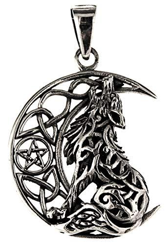 Kiss of Leather 354 - Colgante de plata de ley 925, diseño de lobo en la luna