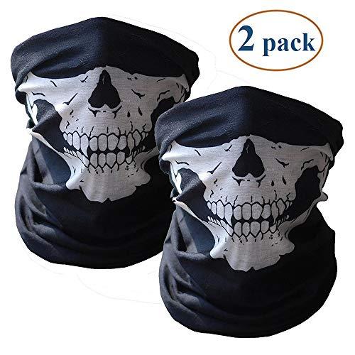 Hetangyuese Gesichtsmaske, schwarz, nahtlose, mit Totenkopf-Motiv, Bandana, Röhren-Gesichtsmaske fürs Motorrad, Totenkopf-Aufdruck (2pcs)