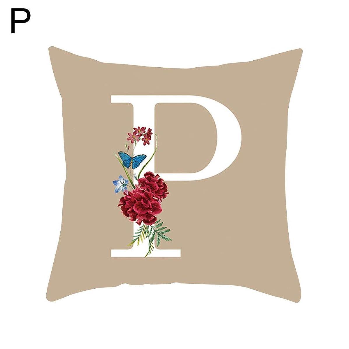 millet16zjh A-Z Capital Letter Flower Pillow Case Home Decor Sofa Waist Throw Cushion Cover - P
