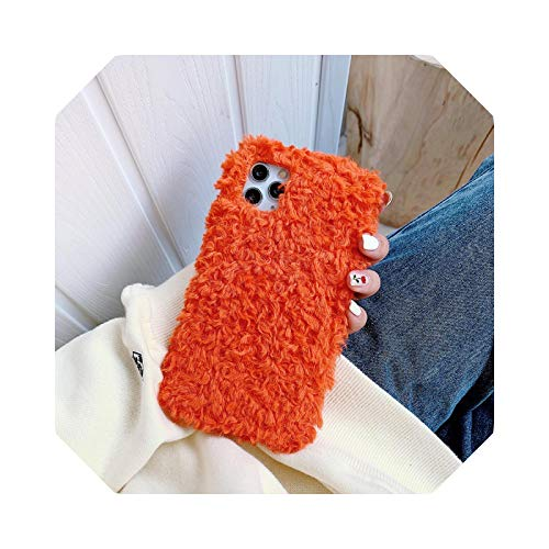 Lovely Plush Warm ry Candy Color Phone Case for iPhone 12 Mini 12 Pro 11 Pro XR X XS Max 7 8 Plus Case Soft Case Case Case Case Case Case Case Cover Orange for 7Plus Oro 8Plus