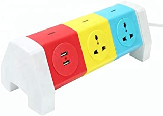 Impro 5 Plugs + 2 USB Tower Sockets Spike Buster - 3 Floors Horizontal - Surge Protector - Universal Multi Plug Points Adapter - 2.1A USB Ports - 10A Plugs - 2500W Power Output - Copper Core Cable