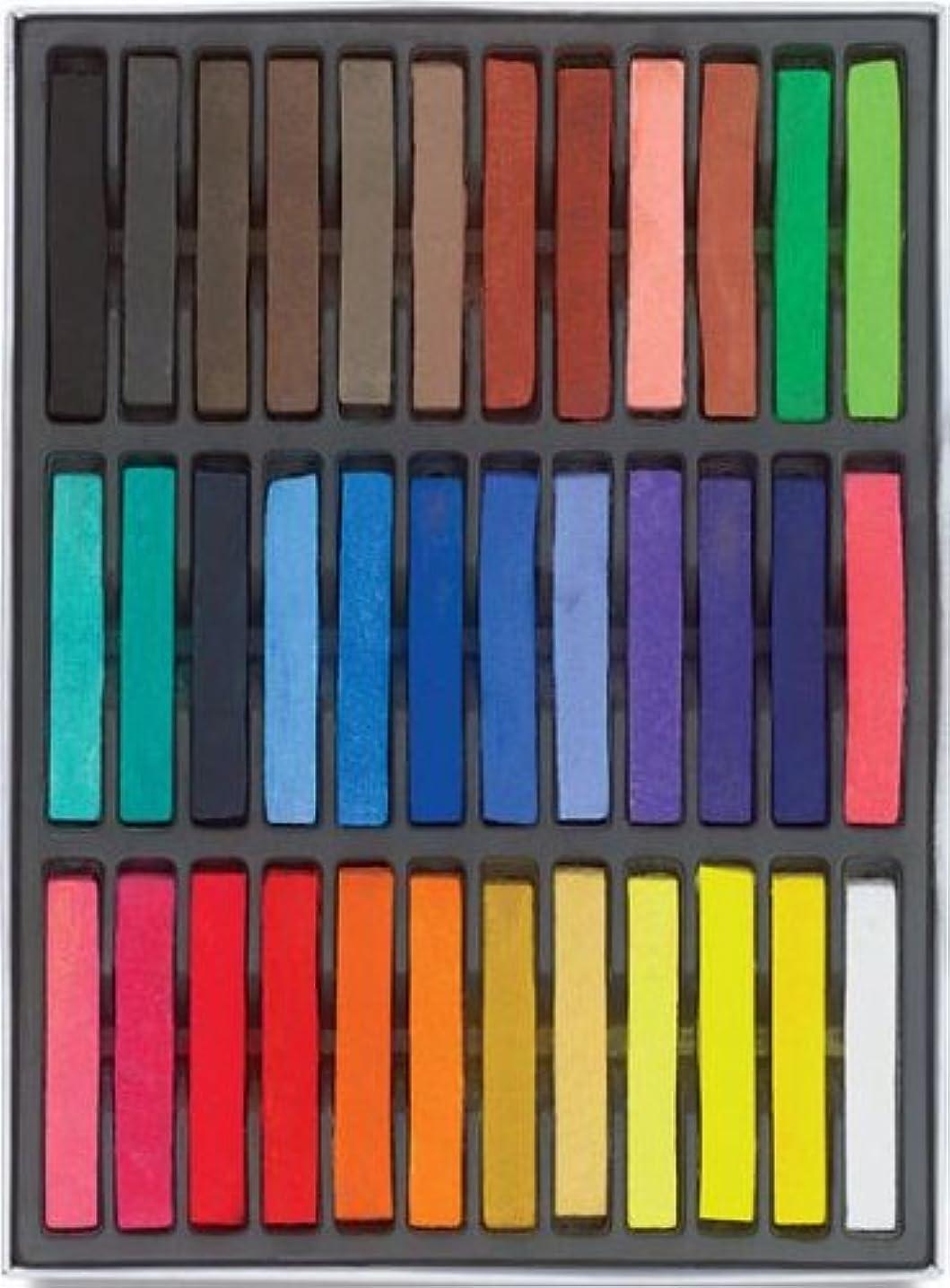 うめき声物理リズムHAIRCHALKIN?36色の一時的なヘアチョークセット - 非毒性の虹色の染料パステルキット