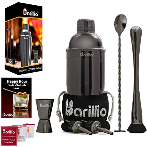 Black Cocktail Shaker Set Bartender Kit by BARILLIO