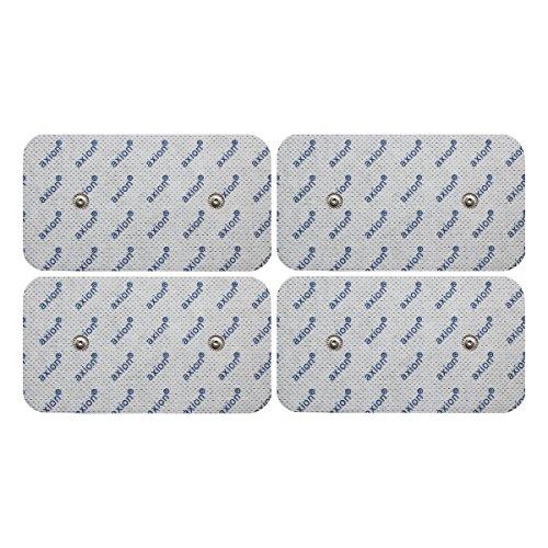 4 Electrodos de axion para TENS y EMS | de 10x5cm | Compatibles con su aparato COMPEX | Electrodos autoadhesivos, parches, pads, de varios usos | Electroestimulación
