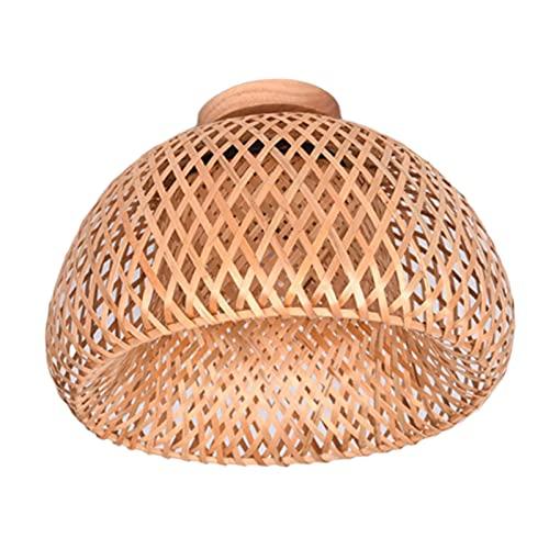 Amuzocity Lámpara de Techo Colgante Empotrada de Bambú de Mimbre Y Ratán - Los 30x18cm
