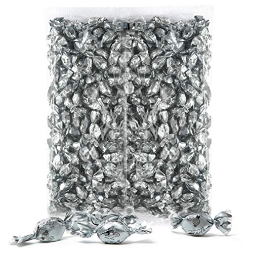 Silver Foils Hard Candy, 1.32 Pounds Bag of Silver Color Themed Kosher Mini Candies Individually Wrapped Pineapple Fruit-Filled Flavored Candy (NET WT 600g, About 310 Pieces)
