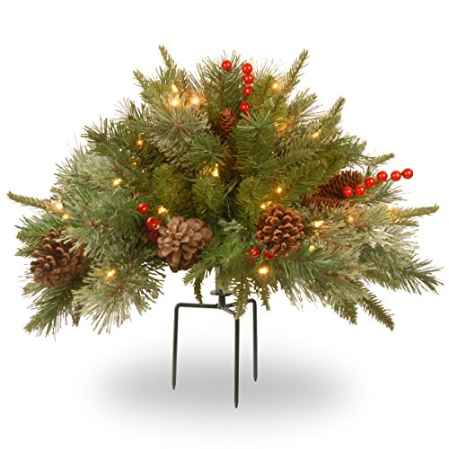 "National Tree Company Company Pre-lit Artificial Christmas Tree Feel Real Urn Filler | Flocked with Mixed Decorations Strung LED Lights with Stand | Colonial-18 Inch, 18"", Warm White"