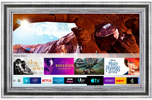 Framed Mirror TV with Samsung 50 inch 4K Ultra HD HDR Smart LED TV TVPlus. Silver Leaf Frame