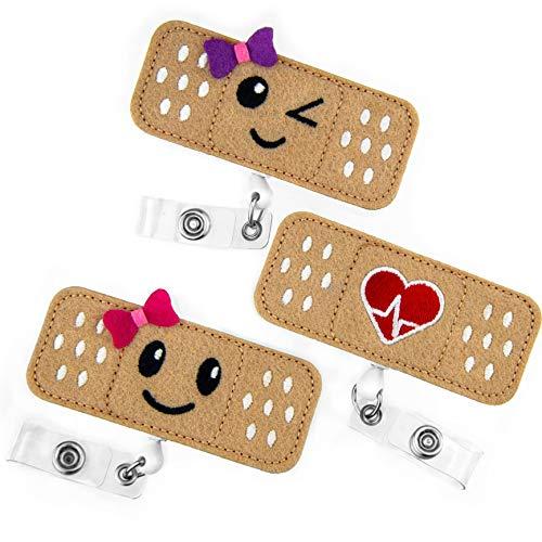 Porta badge a cordoncino retrattile per infermiere - Confezione da 3 pezzi - Porta badge a forma di cerotto - Regali perfetti per infermiere - di BadgeZoo