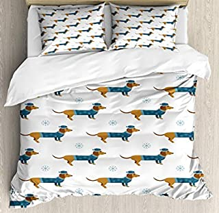 Dachshund Duvet Cover Set King Size, Winter Cartoon Sausage Dog in Pullover and Snowflakes, Decorative 3 Piece Bedding Set with 2 Pillow Shams, Ginger Dark Turquoise Pale Blue White