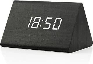 GEARONIC TM Modern Triangle Wood Clock Digital LED Wooden Alarm Clocks Digital Desk Thermometer Classical Timer Calendar Updated 2018 Brighter LED - Black