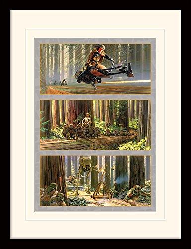 Star Wars 30 x 40 cm acción en la Luna de Endor montado y impresión enmarcada
