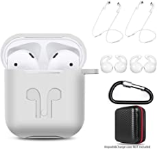 AMASING AirPods Case 7 in 1 Airpods Accessories Kits Protective Silicone Cover for Airpod(Front led Not Visible) with Ear Hook Grips/Airpods Staps/Clips/Skin/Tips/Grips (AIRPODS 1, White)