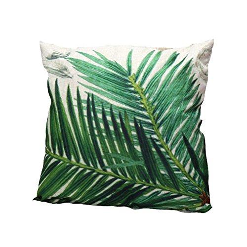 Ruikey Funda de almohada de lino creativo con hojas frescas para sofá, cama, decoración del hogar, 45 x 45 cm