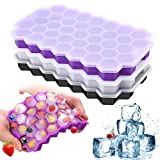 Ice Cube Trays with Lids, Silicone 111-Ice Cube Molds with Anti-Cross Smell Removable Lid, BPA Free, Stackable Easy Release, for Freezer Ice, Baby Food, Whiskey, Cocktail (3 Pack-Purple White Black)