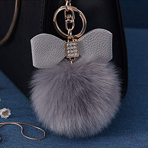 Fluffy Ball Key Chain 8-10cm Cute Keychain Bag Charm Ball Fur Key Chain for Car Key Ring (Grey)