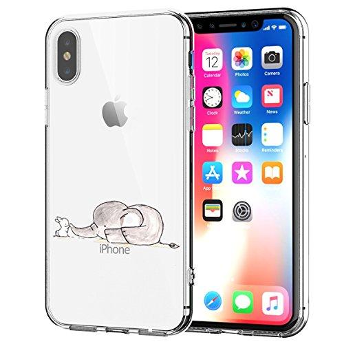 Caler Kompatibel mit/Ersatz für Hülle iPhone XS/X Hülle Flexible Silikon HandyTransparente Ultra Slim TPU dünne stoßfeste mit Motiv Tasche Etui Schutzhülle Hülle (Kaninchen-Elefant)