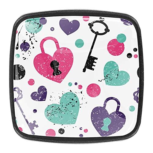(4 piezas) pomos de cajón para cajones, tiradores de cristal para gabinete, hogar, oficina, armario, cerradura de amor y patrón de llave, 35 mm