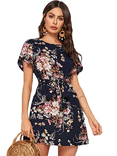 Romwe Women's Petal Short Sleeve Floral Print Belted Casual Mini Tunic Dress (Large, Navy-1)