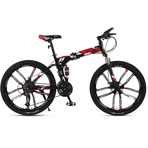 Bike Folding Mountain Adult Off-road Variable Speed Racing Car Men And Women Student Bicycle 26 Inch 21 Speed Dust-proof Rear Shock Front And Rear Dual Disc Brakes White Black Blue Red