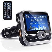 Transmisor FM Bluetooth, Clydek Transmisor FM Universal Adaptador de Radio Kit de Automóvil con Control Remoto, Cargador Dual USB y Llamadas con Manos Libres [Pantalla Grande de 1,8 Pulgadas]