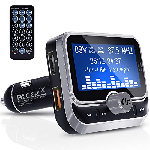 Bluetooth FM Transmitter, Clydek Universal FM Transmitter Radio Adapter Audio-Empfänger Car Kit mit Fernbedienung, Dual-USB-Ladegerät und Freisprechfunktion [1,8 Zoll Großbildschirm]