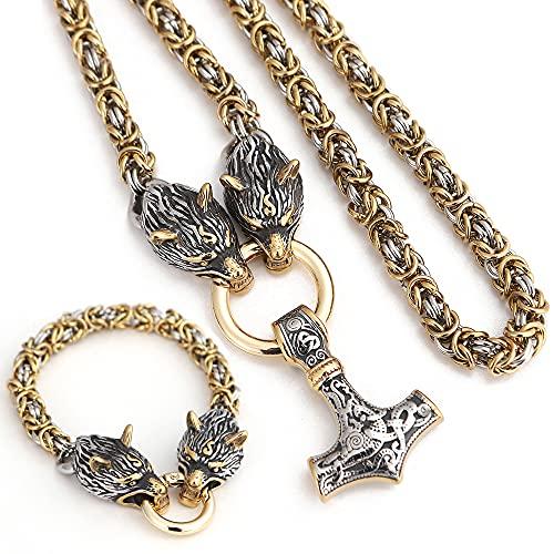 Martillo De Thor Pulsera Collar Nórdico Vikingo Mitología De Odin Joyería De Acero Inoxidable 316L para Hombre 2 Piezas,80cm/31inch