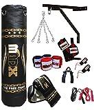 MADX - Set de boxeo (13 piezas, saco de 1,52 m con relleno, guantes, cadena, soporte)