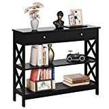 Kealive Console Table with 1 Drawer, Tall Entryway Table with 3-Tier Storage Shelves, Narrow Sofa Entry Table for Hallway Living Room, Sturdy Wood X Frame, 39.4 x 11.8 x 31.5 inches, Modern Black
