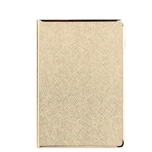 Diario de bolsillo A5 con temática gruesa de tapa dura, diario de viaje de negocios de piel sintética para trabajo, niños, escuela, mujeres, hombres, cuadernos de oficina (color: dorado)