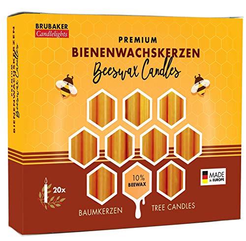 Brubaker - Lote de 20 velas con 10% de cera de abeja, vela de Navidad para portavelas de pirámide o árbol de Navidad, color amarillo miel