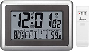 Forestime Digital Atomic Wall Clock, Desk Alarm Clock, Battery Operated with Wireless Sensor 300 ft / 100 Meter Range, Lar...