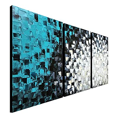 Hand Painted Black and White Teal Abstract Canvas Wall Art Turquoise Modern Oil Painting from Seekland Art