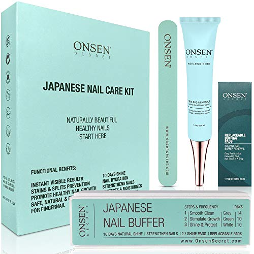 Onsen Unique Japanese Nail Care Kit - Professional Nail File, 3-Way Nail Buffer Block And Cuticle Cream With Free Replacement Pads For Perfect Nails - The Most Amazing Travel Size Nail Care Kit