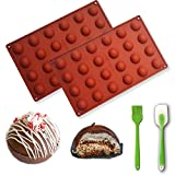 Hemisphere Silicone Baking Molds with Butter Scraper, Flexible Baking Molds for Making Hot Chocolate Bomb, Cakes, Jelly, Dome Mousse, Muffin, Yogurt Drop, 2 Molds + 1 Scraper (24-Cavity Hemisphere)