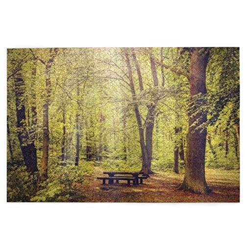 Popsastaresa Puzzle 1000 Stück, Picknicktisch im Wald Laub Grün Natur Thema Sommer und Winter, große Familie Puzzle Spiel Artwork für Erwachsene Jugendliche