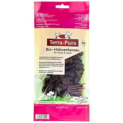 TERRA-PURA Tiernahrung Bio-Hühnerherzen, Snack für Katzen und Hunde, 100 g x 3