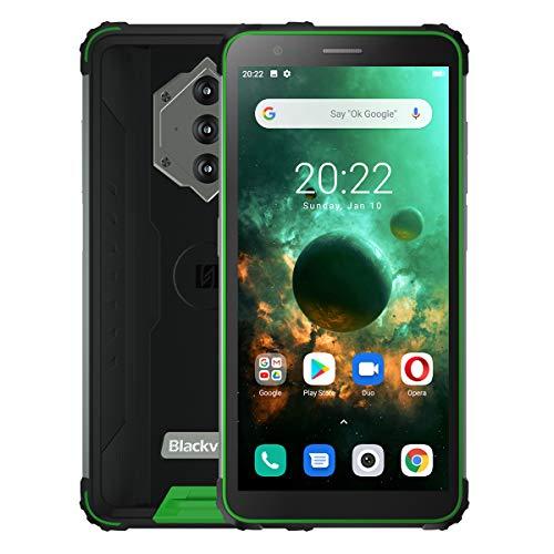 Blackview BV6600 Outdoor Smartphone ohne Vertrag, 8580mAh Akku (Rückwärtsladung), 5.7'' HD + IP68 und IP69K Wasserdichtes Stoßfestes Handy Android 10.0, Octa Core 4GB + 64GB, 16MP Kamera NFC Grün