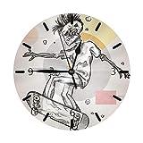 Mailine Zombie Skateboard Cool Art Color Mini temática Patrón Impreso Diseño Reloj de Pared Cama de salón Comedor Dormitorio Escritorio en casa Sin tictac