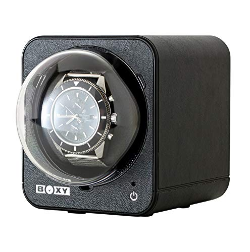 Fancy Brick Stackable Watch Winder for Single Automatic Watch (with AC Adapter) (Black Leather)
