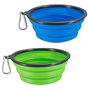 COMSUN 2-Pack Extra Large Size Collapsible Dog Bowl Food Grade Silicone BPA Free Foldable Expandable Cup Dish for Pet Cat Food Water Feeding Portable Travel Bowl Blue and Green Free Carabiner