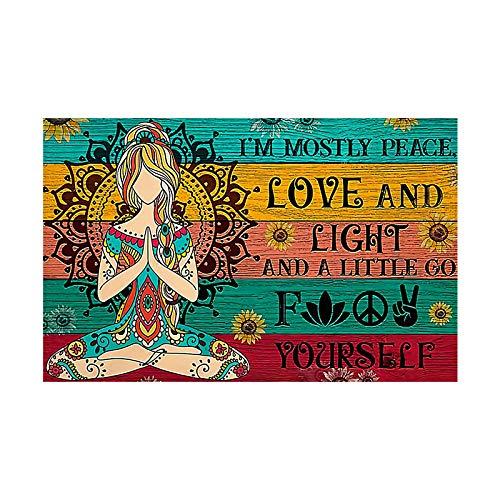 Sunglade Drucken Sie Wandkunst Ich Bin hauptsächlich Frieden Liebe und Licht Leinwand Malerei Poster und Drucke Yoga Meditation Wandkunst Bilder Dekor 23,6