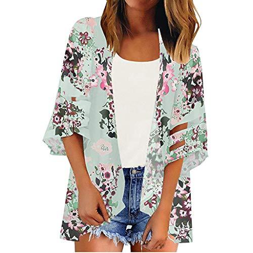 Fenverk Damen Strand Kleidung Sommer Bikini Boho Durch Kimono Cardigan Exotische Hippie Cover Up Strandkleid Bluse Frauen Bademode Maxi Kleid Sommerkleid(Grün,XXL)