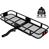 SUNCOO Cargo Carrier, 500 LBS Capacity Basket Trailer Hitch Cargo Carrier, 60'x 21'x 6' Hitch Mount Rack with Angled Titling Folding Shank, Fits 2 Inch Hitch Receiver Luggage Rack for Vehicles
