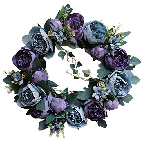CUTICATE Natural Garland Front Door Wreaths, Artificial Flower Greenery Hanging Wreath for Home Party Indoor Outdoor Window Wall Wedding Decoration - Vintage Blue
